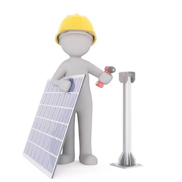 Solar Panel With Worker